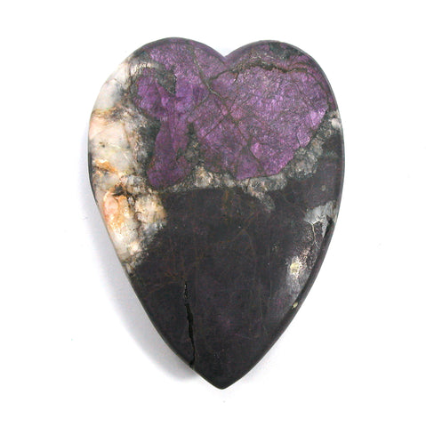 DVH Purpurite & Quartz Broken Healed Heart Carving Namibia 3.4oz Purple 77x57x12mm