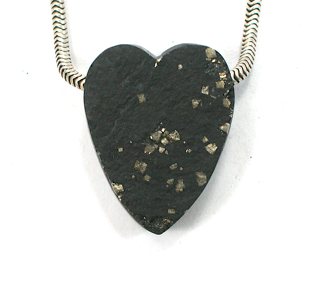 DVH Rare Druzy Pyrite on Slate Heart Bead 26x20x10mm (2640) - DVHdesigns