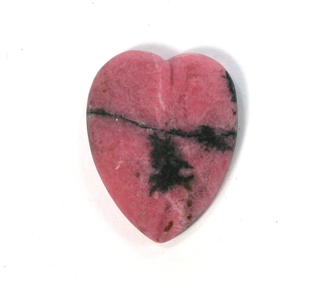 DVH Matte Rhodonite Broken Healed Heart Cabochon 31x25x6 Cab (2566) - DVHdesigns