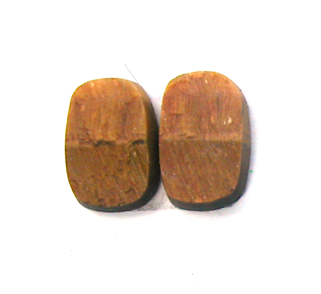 DVH Natural Surface Tigereye Cabochon Matched Pair Cabs 22x15x4 (2506) - DVHdesigns