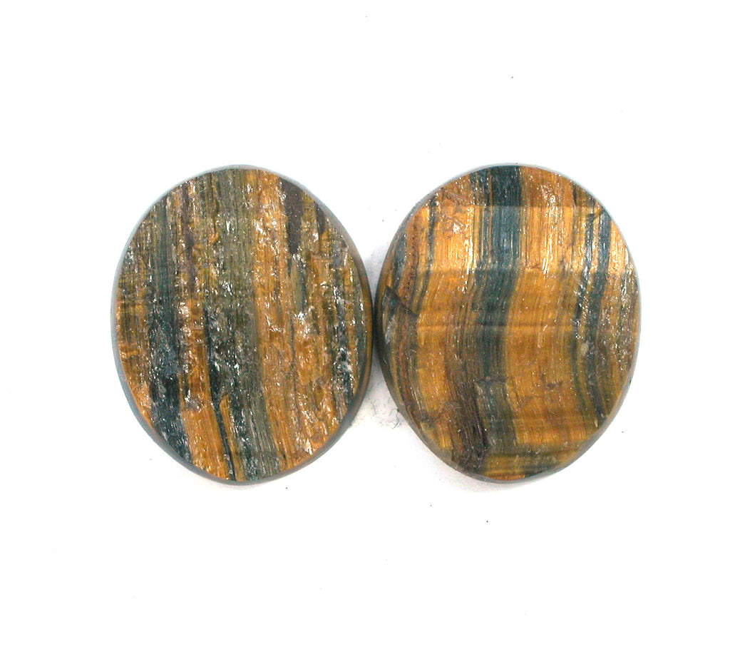 DVH Variegated Hawks Eye Tiger Eye Natural Surface Cabochon Pair 27x22x4 (2480) - DVHdesigns