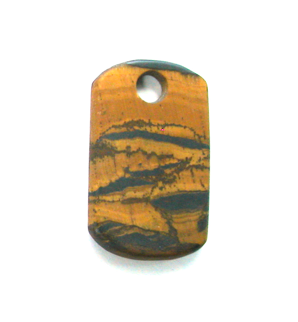DVH Scenic Matte Tiger Eye Dog Tag Bead Pendant 37x23x4 (2510) - DVHdesigns