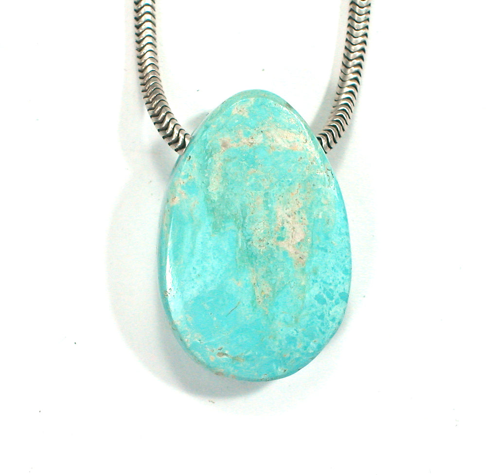 DVH Persian Turquoise Bead Pendant Genuine Natural 27x18x8mm (2335) - DVHdesigns