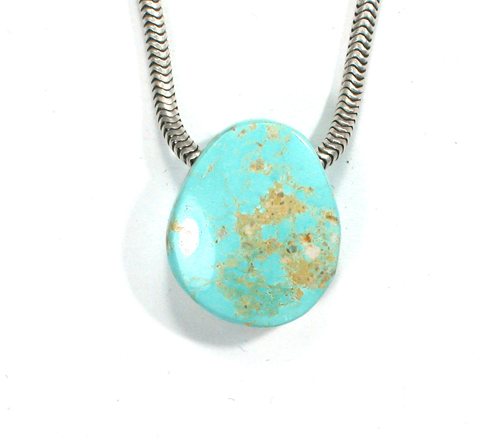 DVH Persian Turquoise Bead Pendant Genuine Natural 19x15x8mm (2336) - DVHdesigns