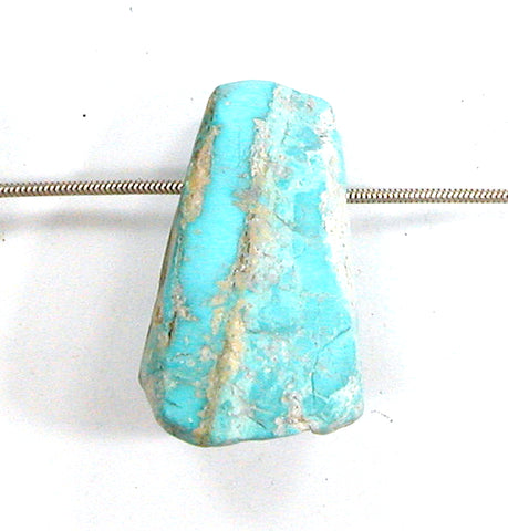 DVH Persian Turquoise Bead Pendant Genuine Natural 38x23x20 (2856)