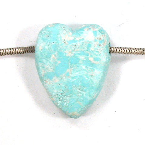 DVH Persian Turquoise Heart Bead Pendant Natural 29x22x11 (2859)