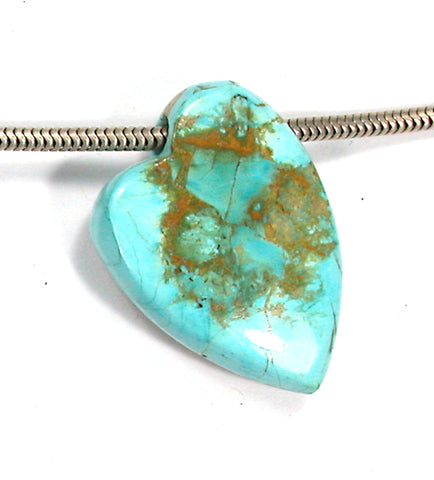 DVH Persian Turquoise Heart Bead Pendant Natural 33x23x9 (3198)