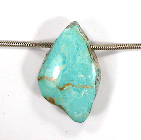 DVH Persian Turquoise Bead Pendant Natural Genuine35x21x14 (3199)