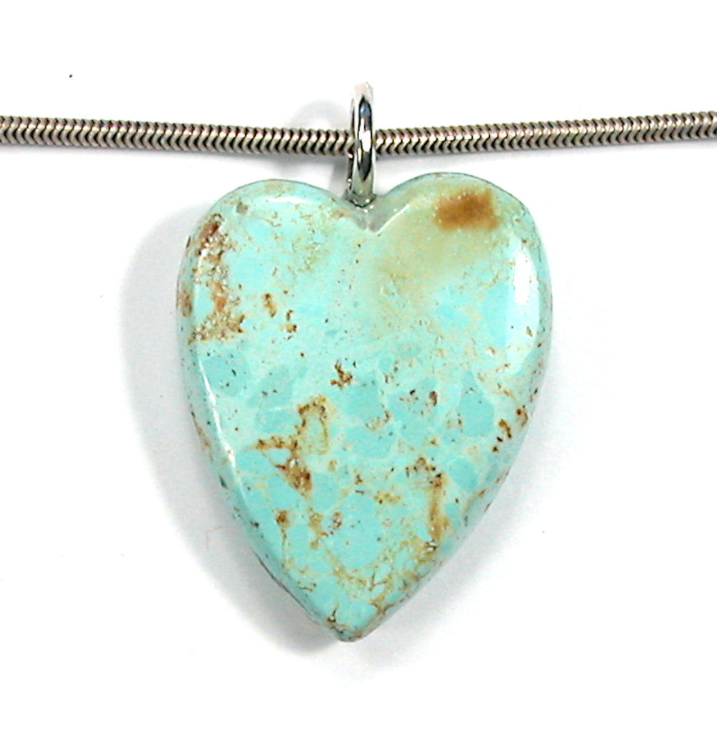 DVH Persian Turquoise Heart Pendant Natural Sterling Bail 30x24x9 (3288)