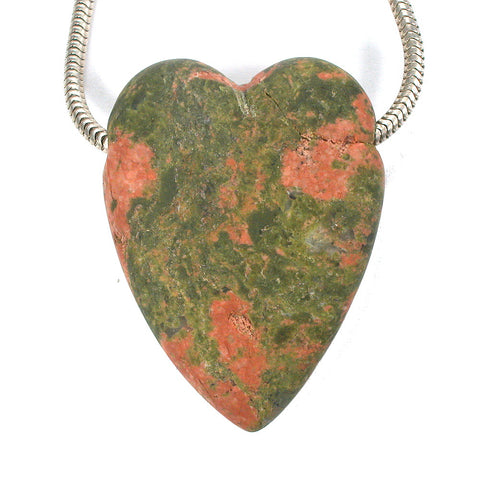 DVH Unakite Heart Focal Bead 43x33x13mm (9426) - DVHdesigns