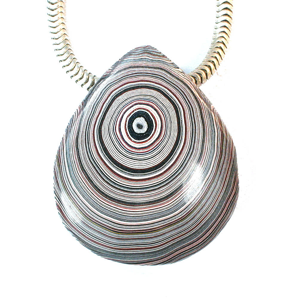 DVH Genuine Fordite Teardrop Focal Bead31x26x10 (9406) - DVHdesigns
