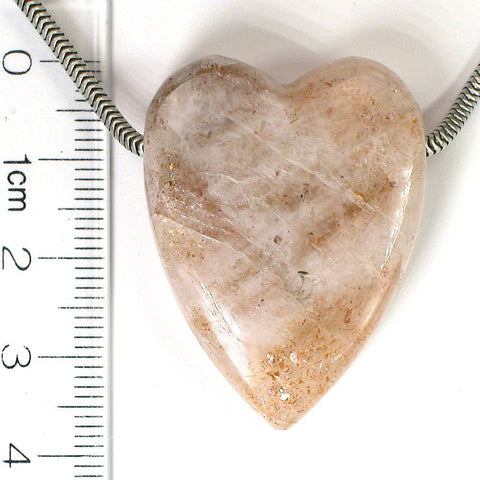 DVH Tanzanian Sunstone Polished Heart Focal Bead 37x28x10 (6391) - DVHdesigns