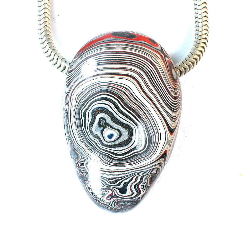 DVH Genuine Fordite Freeform Focal Bead 33x22x12 (9409)
