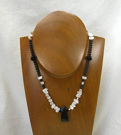 "Genuine Jet, Fresh Water Pearls, Swarovski Faceted Beads 17"" Necklace (2007) - DVHdesigns"