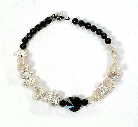 "7"" Bracelet - Genuine Jet, Fresh Water Pearls, Swarovski Faceted Crystal Beads (2008) - DVHdesigns"