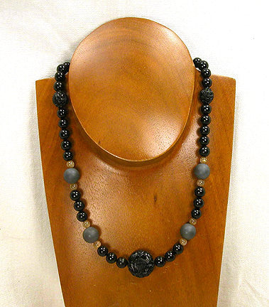 "18"" Necklace - Jet, Hematite, and Sunstone/Moonstone Beads with Carved Jet Focal Bead (2003)"