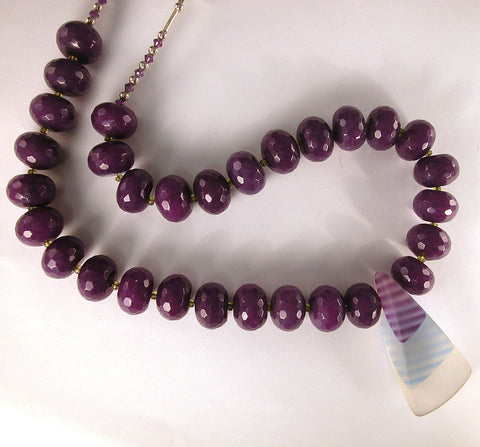 DVH Purple Dyed Agate 57x28mm Art Glass Bead Necklace