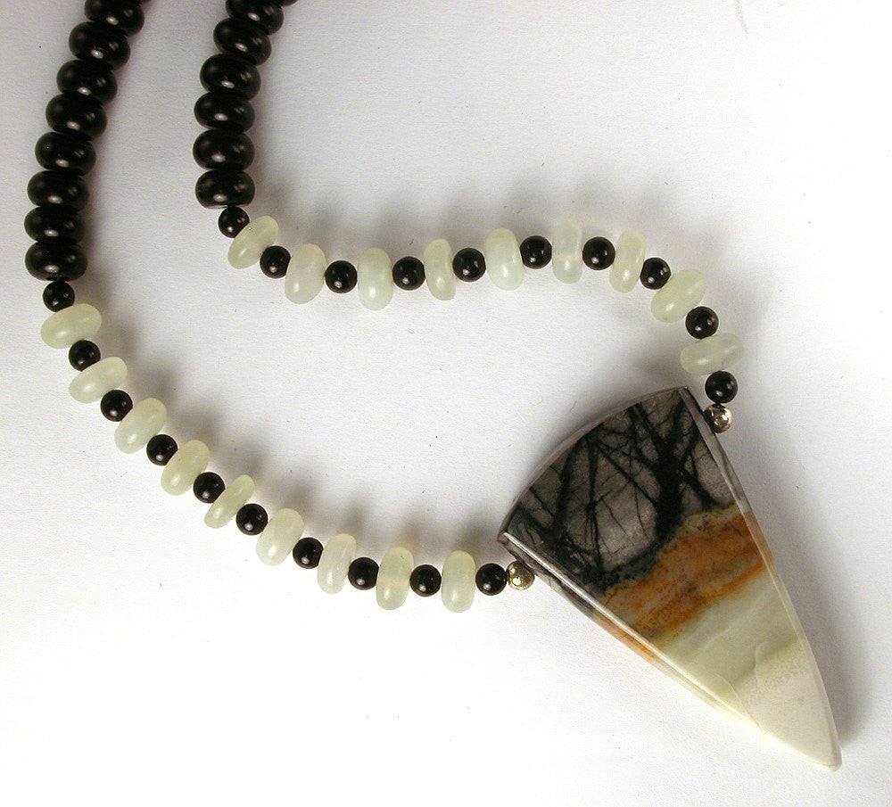 "DVH 18"" Picasso Marble Focal Bead Necklace with Jet and New Jade Beads - DVHdesigns"