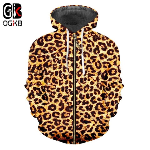 OGKB Zipper Hoodie Sweatshirts Slim Animal 3D Hoodies Printed Leopard Streetwear Plus Size 5XL Clothing Men Autumn Coat Pullover - DVHdesigns