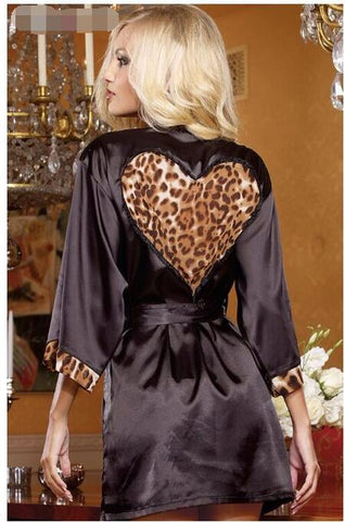 Foreign trade 2020 Hot Women's Sexy Lingerie ladies Fashion leopard heart bathrobe Female Black leopard Stitching robe pajamas - DVHdesigns