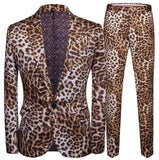 leopard print Blazer men groom suit set with pants mens slim suits costard homme singer star style stage clothing formal dress - DVHdesigns