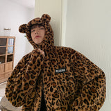 Mens Parka Jacket Autumn Winter Hoodies Leopard Print Harajuku Thick Warm Overcoat Mens Winter Jackets and Coats Hip Hop - DVHdesigns
