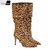 Designer Sexy Leopard Mid-Calf Boots Woman Fashion Slip On High Heels Winter Booties Plus Size 46 Brown/White/Pink Bota Feminina - DVHdesigns