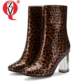 ZVQ office woman mid-calf boots plus size 32-45 fashion spring sexy leopard pattern zip shoes 7.5cm high heels square toe boots - DVHdesigns