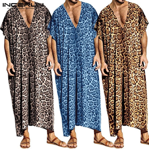 INCERUN Fashion Leopard Print Men Robes Sleepwear Short Sleeve Casual Homewear V Neck Loose Bathrobes Men Muslim Kaftan Clothes - DVHdesigns
