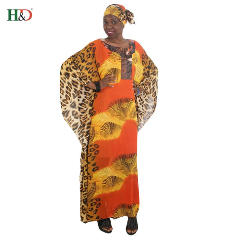african women long robe leopard printed loose maxi dresses africa lady clothes vetsidos africaine outfit robes head wraps - DVHdesigns