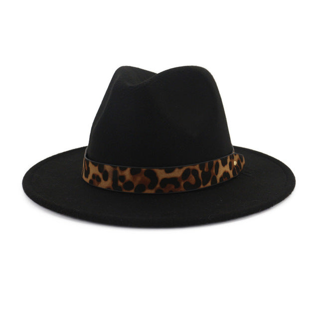QIUBOSS Unisex Wool Felt Jazz Fedora Hats with Leopard Grain Belt Women Men Wide Brim Panama Trilby Carnival Formal Hat QB121 - DVHdesigns