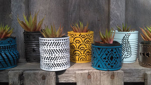 Tiny succulent plant pots made from tin cans
