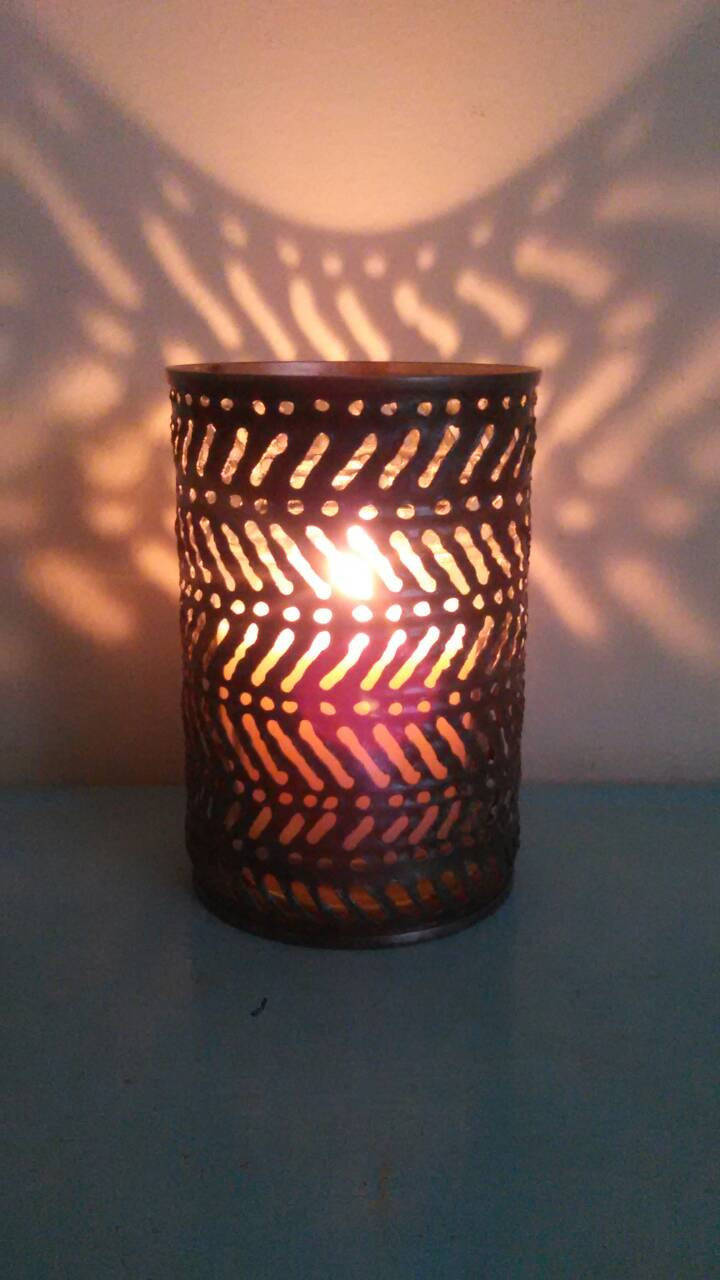 Herringbone Luminary Candle Holder