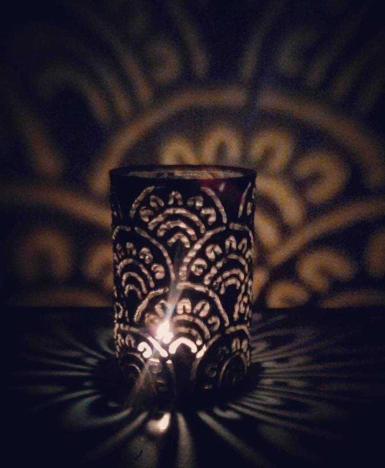 Fan Pattern Luminary Candle Holder