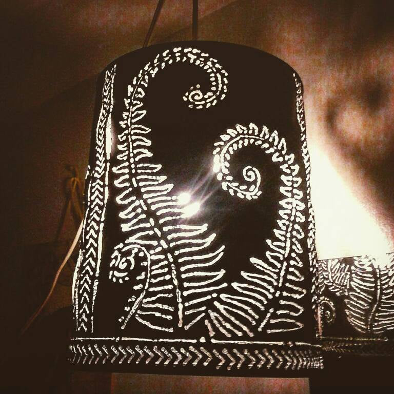 Pendant light boho/farm style metal lamp fixture, artistic welding, torch cut hanging lamp. Fiddlehead fern pattern. Shadow casting lamp.