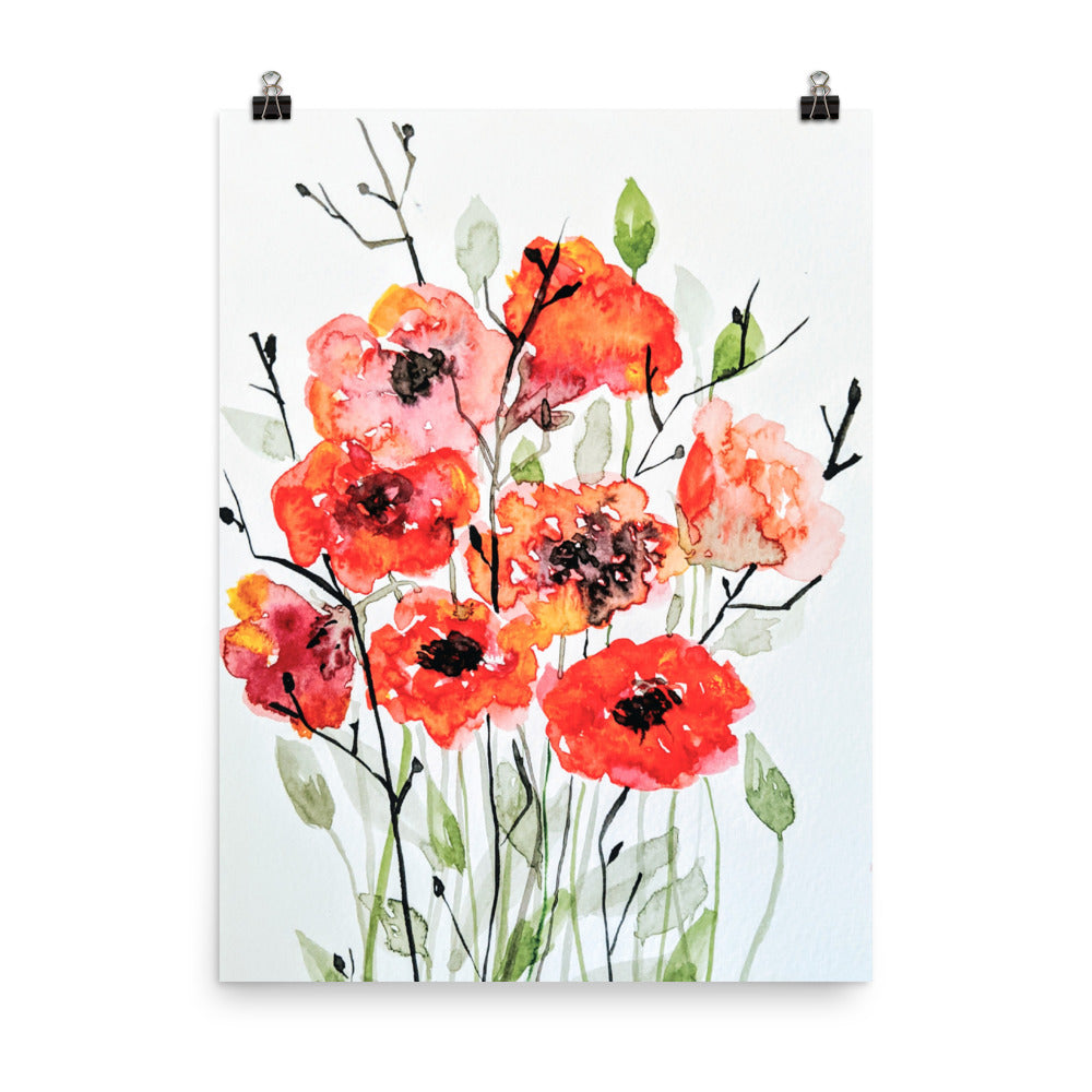 Red Bouquet Watercolor Print