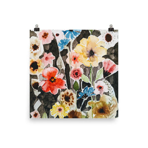 Bright Flowers on Black Watercolor Print