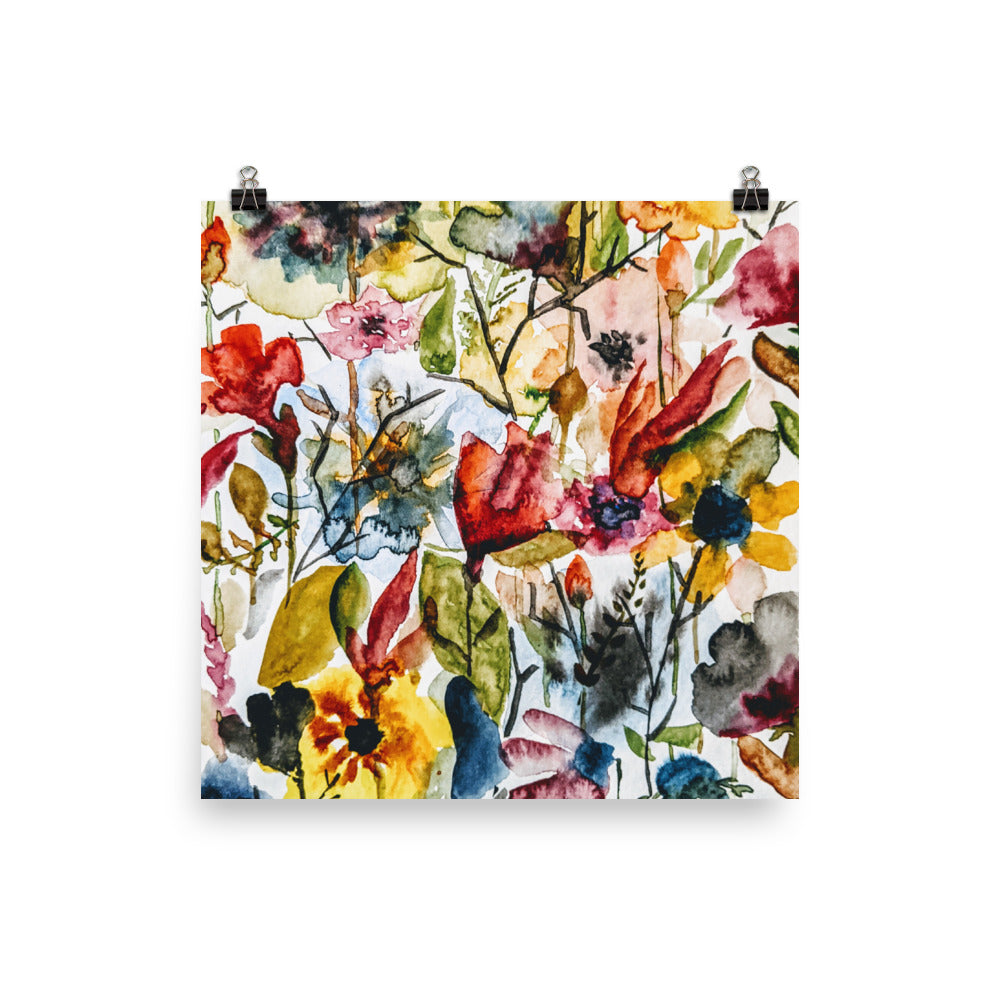 Wildflower Tangle Watercolor Print