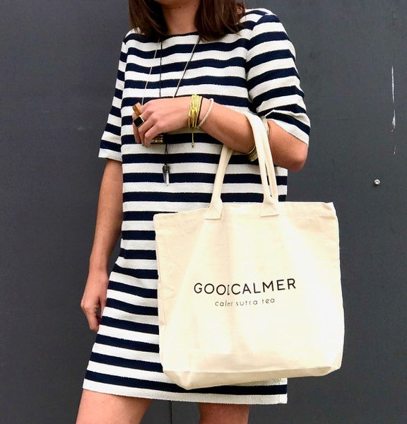 100% Cotton 'GOOD CALMER' Tote Bag