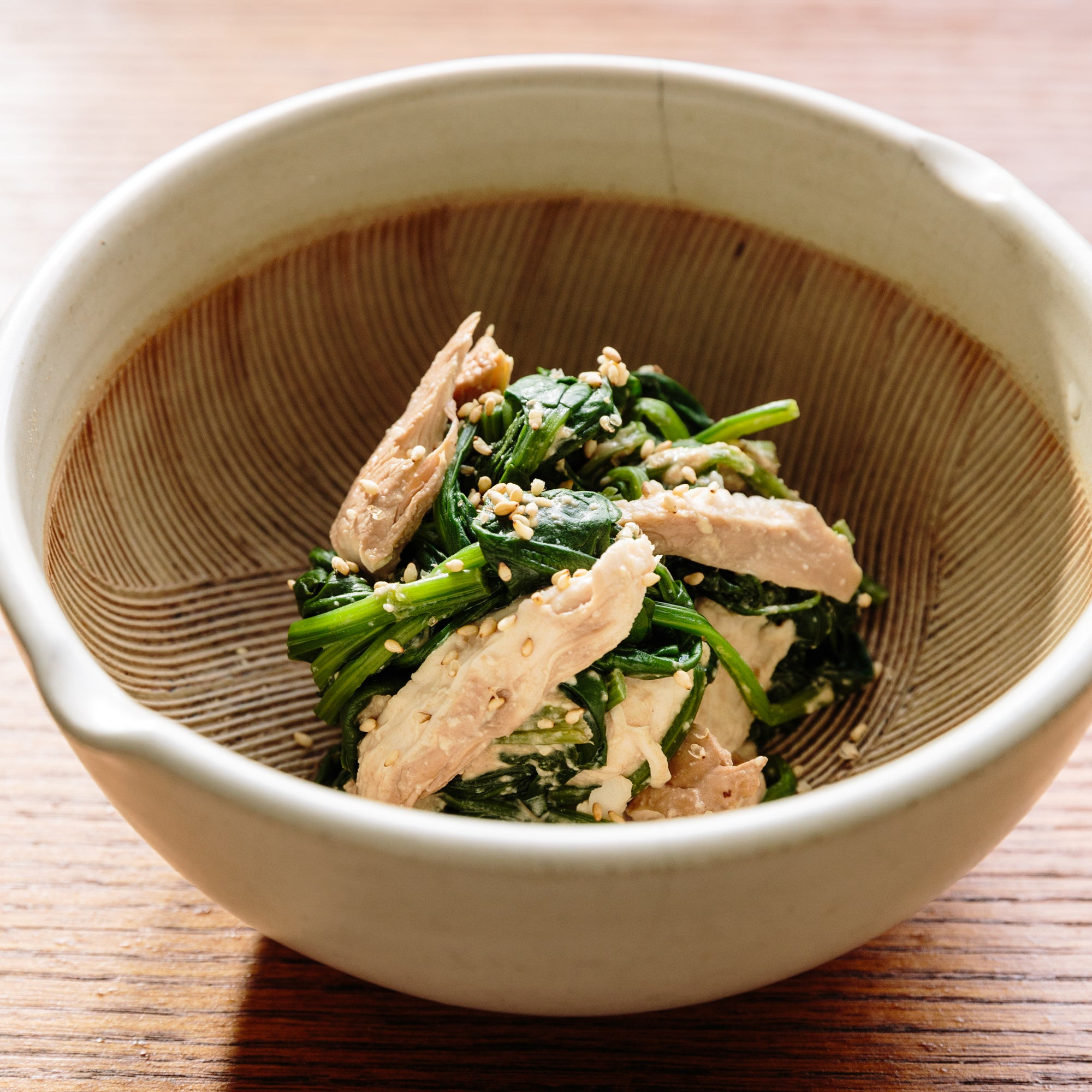 Turkey and Spinach Salad with Shira-ae