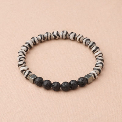 Zebra Striped Tibetan Agate (Black)