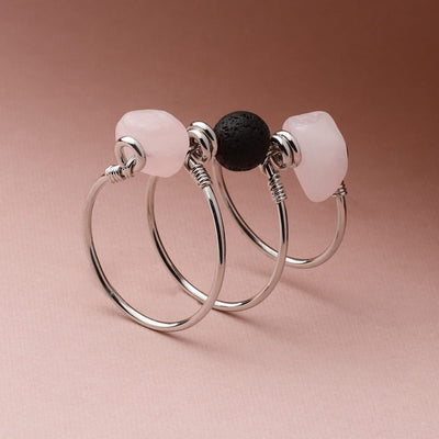 Rose Quartz Triple Wrap Diffuser Ring