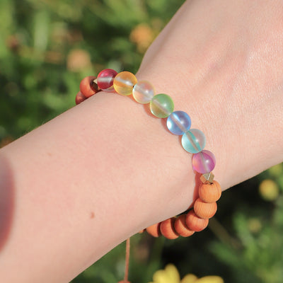 Glow Glass Chakra Wood Adjustable Bracelet