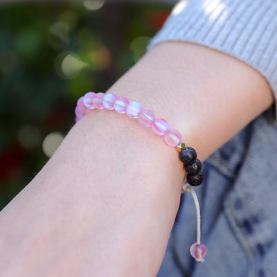 Kids Glow Glass Adjustable Bracelet (Pink)