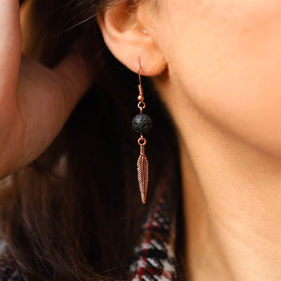 Lava Stone Feather Earrings