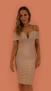 Aurora Beige Bandage Dress