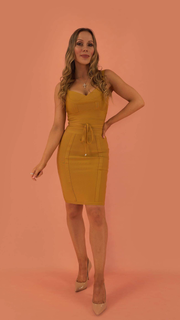 Lucinda Mustard Bandage Dress