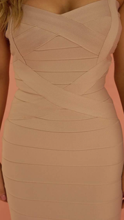 Cleo Beige Bandage Dress