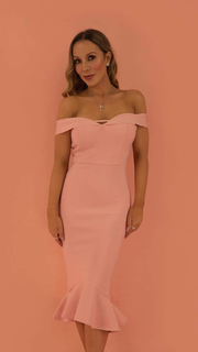 Mishal Pink Off The Shoulder Bandage Dress