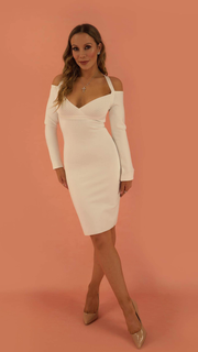 Ava White Long Sleeve Bandage Dress